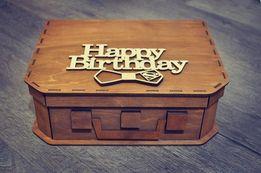 Деревянный чемоданчик, подарочные коробки, сердце