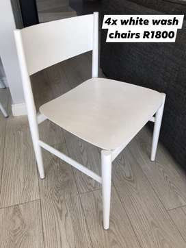 4x White Wash Chairs for Sale