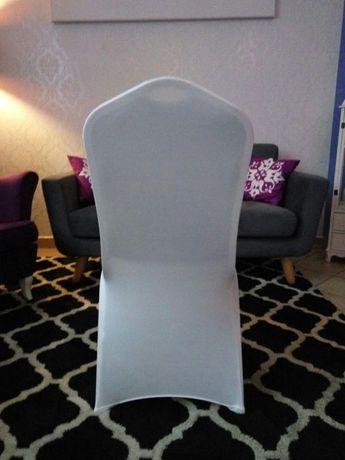 NOWE białe pokrowce na krzesła elastyczne uniwersalne Warszawa - image 3