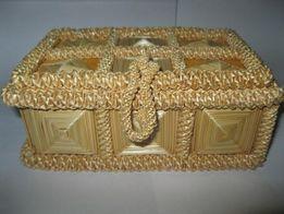 130грн. Соломенная шкатулка для бижутерии (СССР)