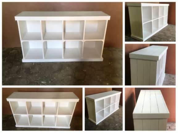 Bookshelf Farmhouse series 1800 with compartments - White stained 0