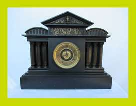 Antique French Slate Mantle Clock with Gilt Face - Sku 158