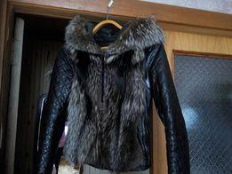 Кожаная куртка из цельной чернобурки не крашеная Италия
