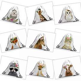 Personalised Animal Watercolour Drawstring B