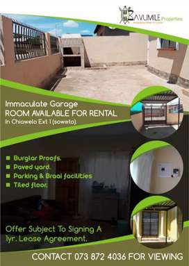 Garage Size Room To Let in Chiawelo Ext 1
