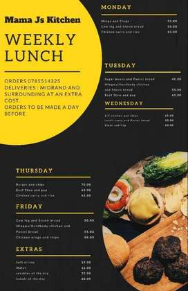 Kiddies and adult weekly healthy lunches