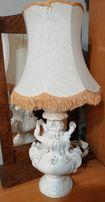 Lampa porcelanowa / Porcelana / Materiałowy abażur / Ozdobne uchwyty