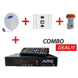 AMO Combo Digital TV Decoder DVB + S2 With A Satellite Dish , Arial &