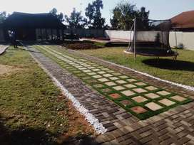 Artificial grass and paving installations