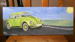 Obraz ręcznie malowany, Garbus, VW Beetle,samochód ,zielony,na prezent
