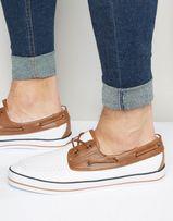 Скидка! ASOS Белые Парусиновые Мокасины / Топ-сайдеры (Boat Shoes)