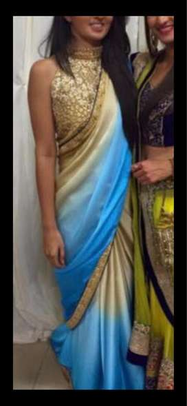 Blue gold two tone saree. Indian wear