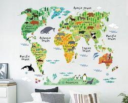 Naklejki ścienne na ścianę Mapa Świata dla dzieci WS-0180