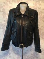 Куртка черная натуральная кожа кожаная с вышивкой
