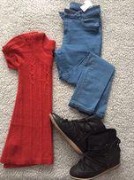 Ciepły długi trapezowy czerwony sweterek Mango casual krotki rekaw 36