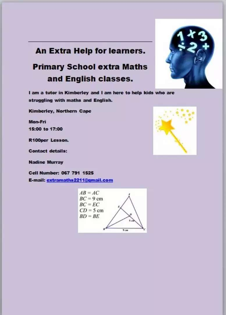 Extra maths and English classes 0