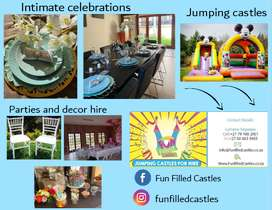 Intimate celebrations, party decor and hire services, jumping castles.
