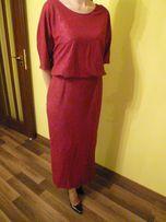 Nowa długa sukienka firmy POZA kolor amarant 44