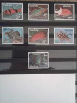 марки Лаос змеи и рыбки