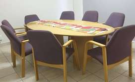 Oak Wood Boardroom table and chairs