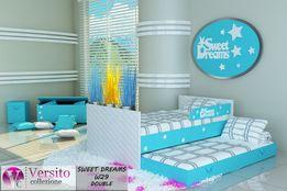 łóżko dla dziecka piętrowe tapicerowane+materace i barierka,3 wymiary