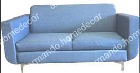 Blue fabric couch with metal legs