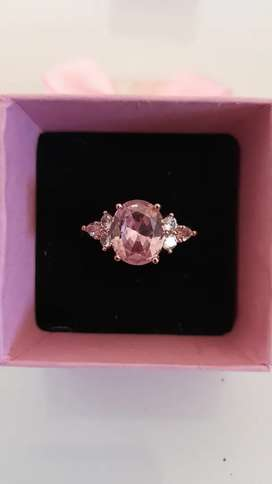 Vintage promise pink rose sapphire white gold ring for sale