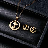 Złote MOTYLKI Zestaw Biżuterii Naszyjnik + Kolczyki