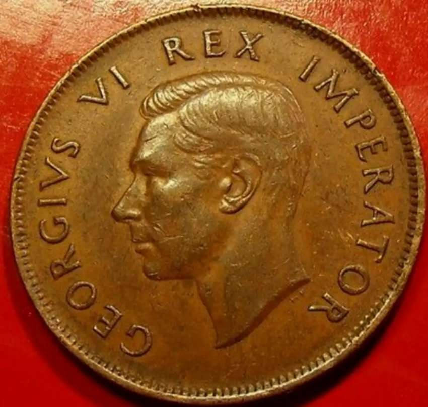 South african 1942 copper 1D coin 0