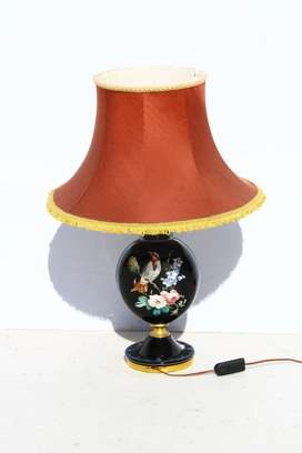 Vintage Glass Lamp with Painted Bird