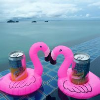 Nowe dmuchane flamingi flaming różowy na szklankę drinka telefon basen