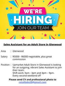 Sales Assistant for an Adult Store in Glenwood