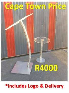 Single Steel Curved Pole And Side Table Combo