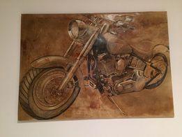 Obraz harley davidson fat boy ręcznie malowany