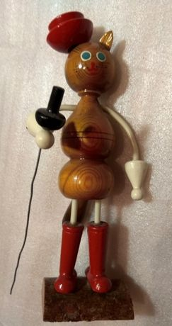 Кот в сапогах СССР 70-е фигурка из дерева коллекционная