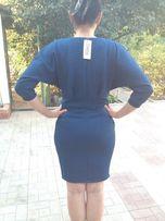 Платье синее из ткани 3д