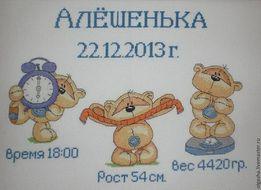 Метрика ребёнку именная вышивка РУЧНАЯ ВЫШИВКА