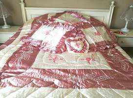 Luxurious 12pc satin embroidered quilt comforter bed set