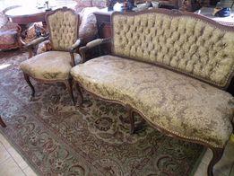 Świetny Zestaw Kawowy-Sofa i Fotel w Stylu Ludwika
