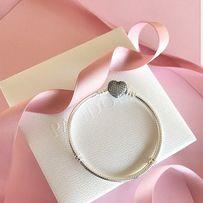 Браслет сердце паве Pandora Пандора АКЦИЯ-коробка в подарок