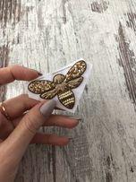 Брошь Жужжик брошка пчела бабочка ручная работа канитель трунцал
