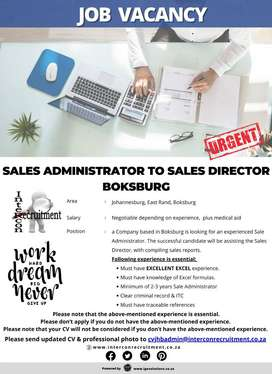 Sales Administrator to Sales Director | Boksburg