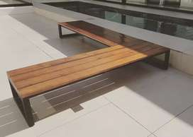 Modern black steel and wood benches