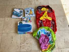 swimming pool inflatable toys collection, 2 used rest unopened