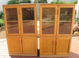 Two Oak & Veneer Glass Door Bookshelves (1.37m x 0.8m x 0.46m) in exce