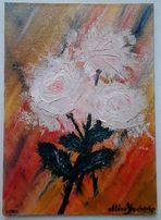 "Картина ""Розы"", масло, мастихин, оргалит, 18х25 см"