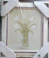 Reprodukcja - bukiet tulipanów w wazonie / 20x25