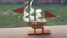 Hand built match stick ship