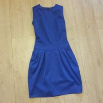sukienka wizytowa kobaltowa niebieska z zipem
