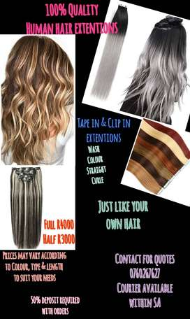 100 % Human hair extentions for sale